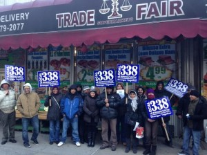 Trade Fair grocery workers and community allies delivered a petition to the new store owner stating that they will boycott the store until workers are rehired.