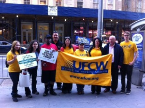UFCW and RWDSU members, along with members of OUR Walmart, joined the Walmart Free NYC campaign at a May Day rally.