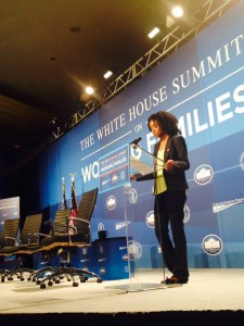 UFCW/RWDSU Local 1-S Macy's worker and single mom, Kay Thompson, speaks at the White House Summit on Working Families.