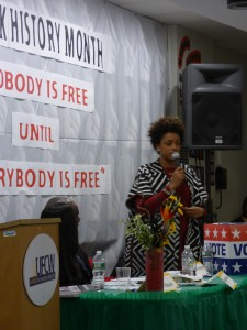 Panelist Angela Peoples addresses UFCW staff at the annual Black History Month program