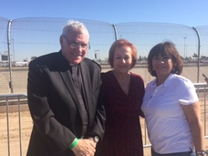 Esther at the border with Father Klete Kiley, Director of Immigration Services, and Maria Elena Durazo, Executive Vice President, both at UNITE HERE