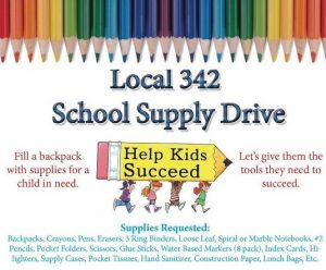 Local 342 school supply drive